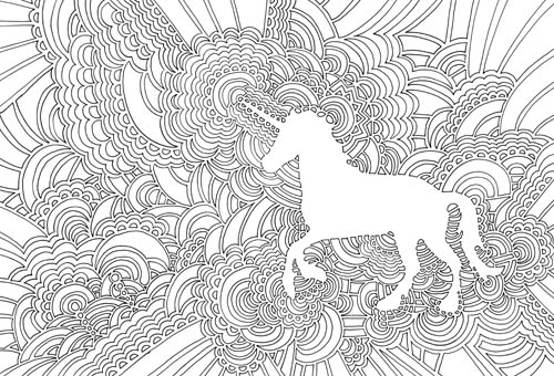 Unicorn Drawing Meditation (coloring book page)