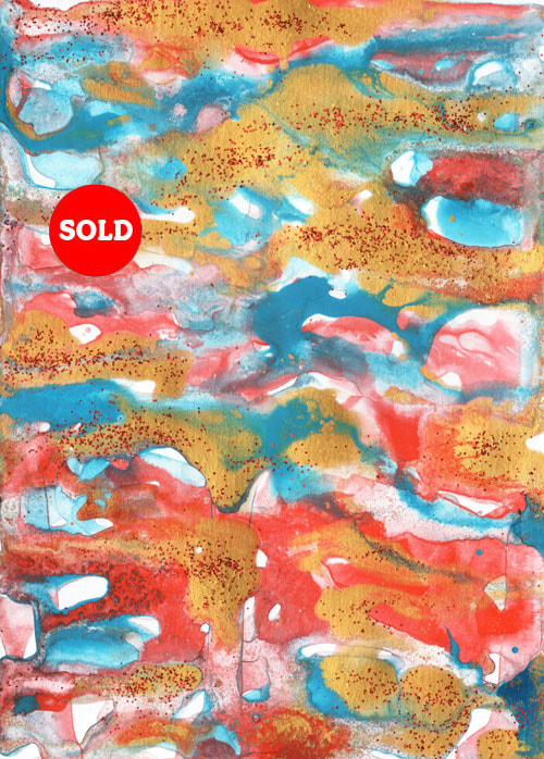 Red/Gold/Blue Abstract with Glitter for sale.
